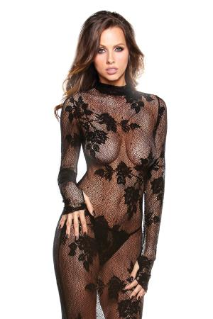 LACE GOWN WITH G-STRING BLACK OS