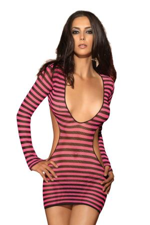 2PCS STRIPED MINI DRESS W G-STRING