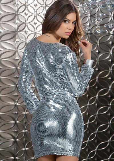 DRESS PLUNGING V-NECKLINE SILVER S