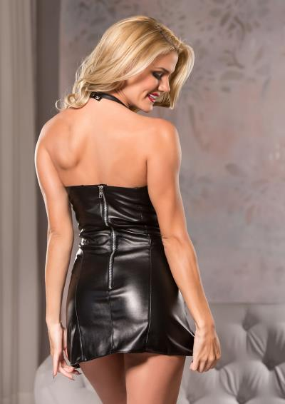 FAUX LEATHER PLAYFULLY SEXY DRESS M