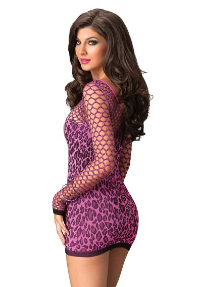 SEAMLESS LEOPARD  DRESS FUCHSIA OS