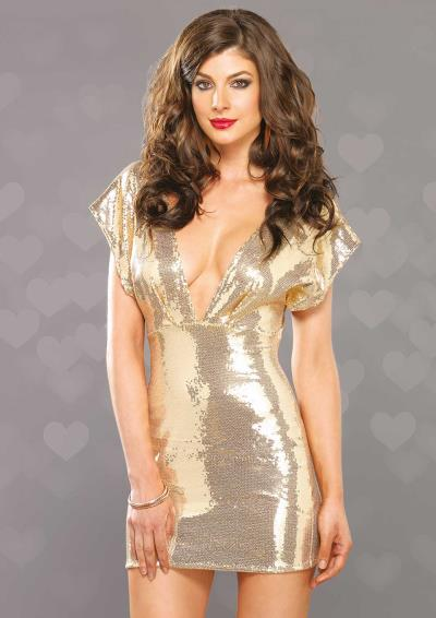 SEXY DEEP-V STRETCH DRESS GOLD M