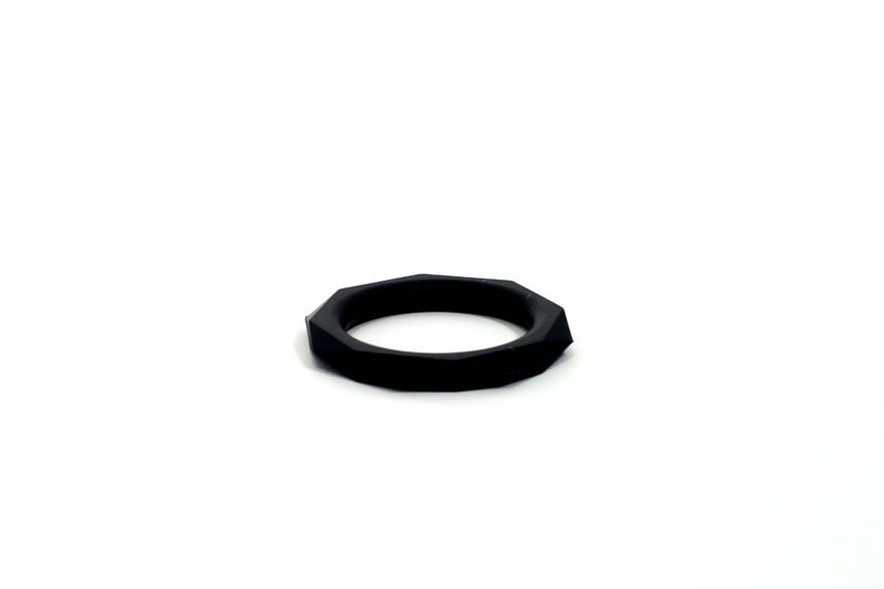 Anello Fallico Octagon Diam 3,2cm Medium Nero